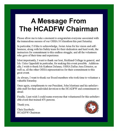 HCADFW OSHA-10 Hour Training Marathon