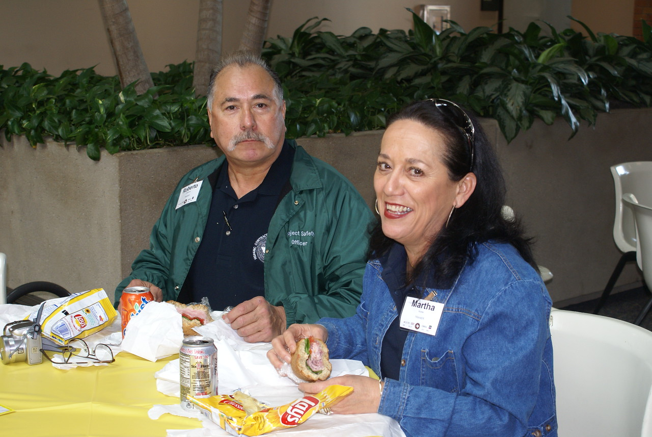 Trainers:  Roberto Arredondo and Martha Hunter take a well deserved break from a full-day of teaching.  Experienced bilingual safety trainers are a rare commodity and valued members of the HCADFW team.