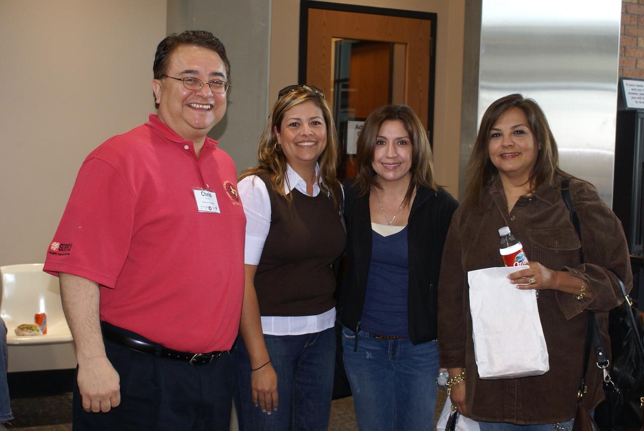 HCADFW Chairman Chris Escobedo, HCADFW Board Member Jeannette Almanza and contruction safety students Sandra Morin-Stewart and Marina Martinez.