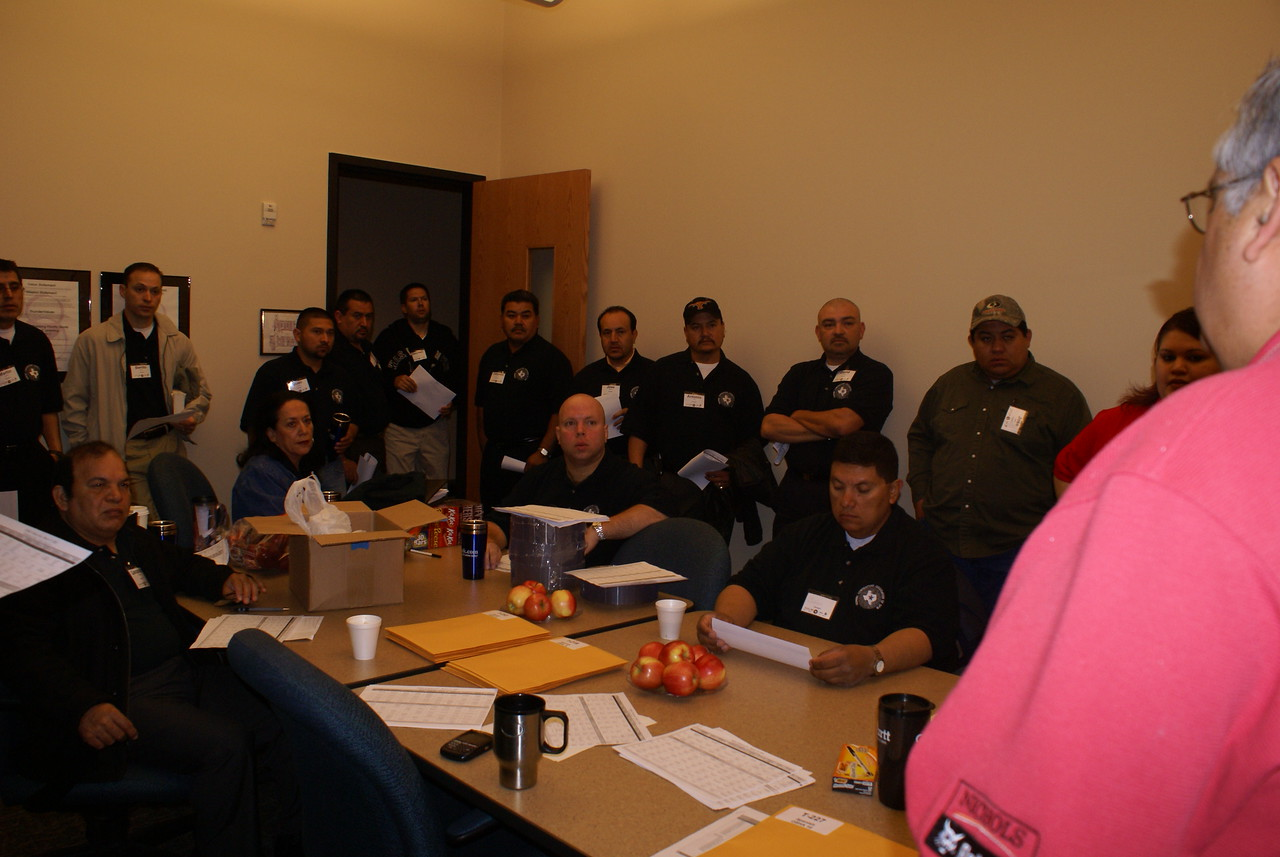A Marathon Effort:  OSHA Certified Trainers at the 7AM Briefing - Training ended about 6PM.