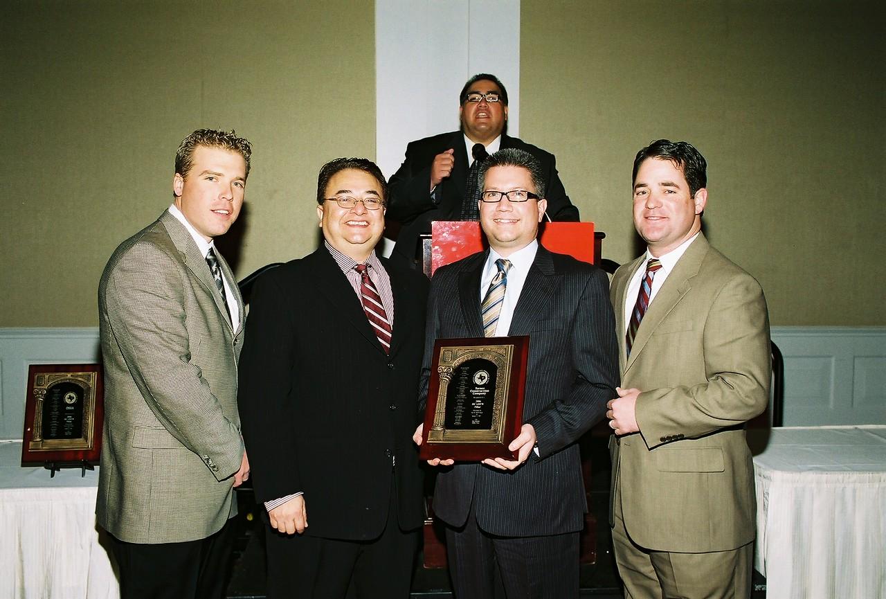 Turner Construction Receives the 2006 HCADFW Pillar Award from HCADFW Chairman Chris Escobedo.  L-R:  Matt Frey, Chris Escobedo, John Leos and Corbett Nichter