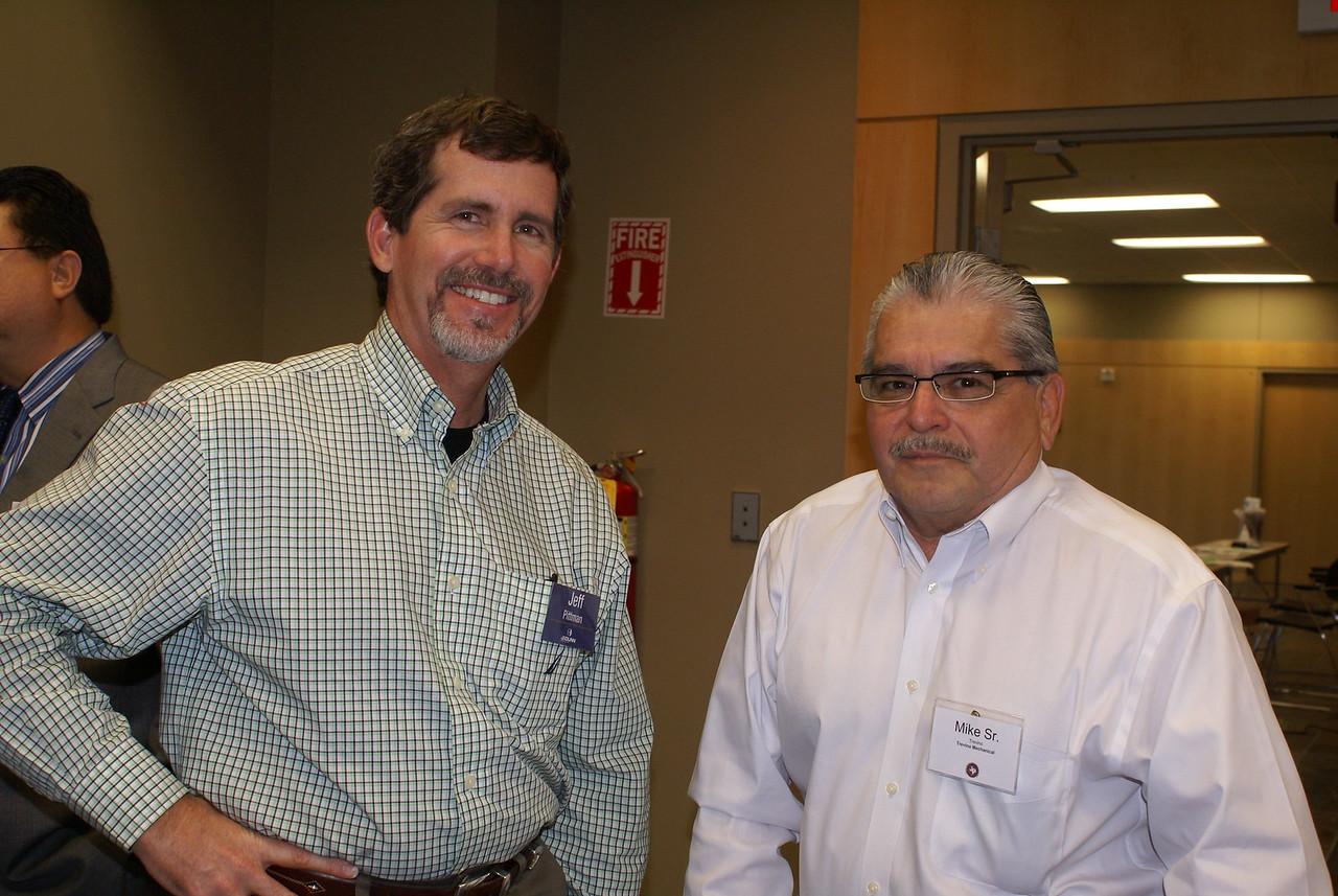 Jeff Pittman, JE Dunn of Texas (DCCCD CM) with Mike Trevino, Sr., Trevino Mechanical