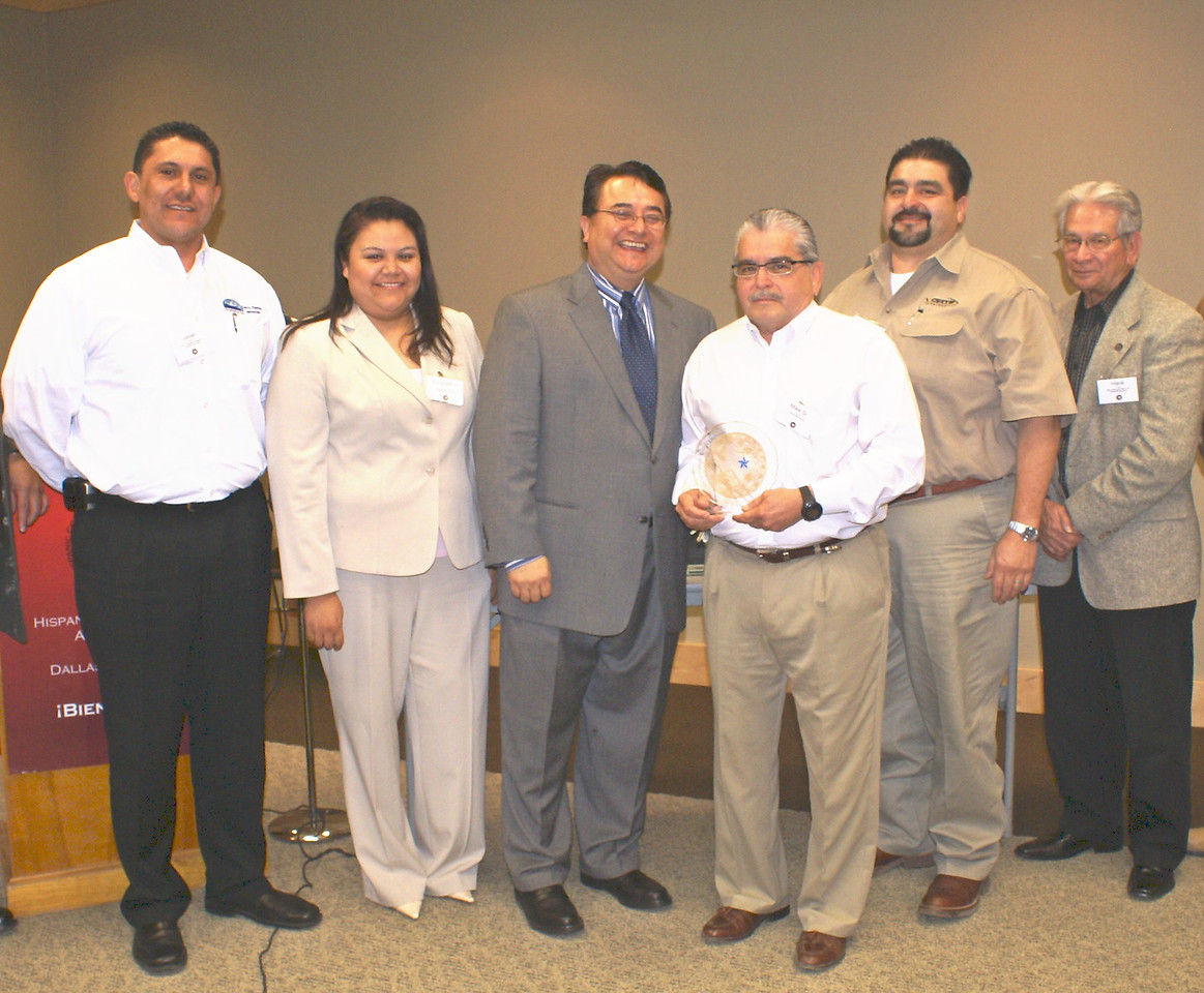 HCADFW Board Members with Mr. Mike Trevino, Sr. the HCADFW Safety Award re-presentation. L-R:  Vice Chair- Javier Huerta, Carrco Painting; Board of Director Elizabeth Chavez, Ponce Contractors; HCADFW Chairman Chris Escobedo, Phillips/May Corp; Mike Trevino, Sr.; Past Chairman Adam Trevino, Vortex; and Board Secretary Hank Lopez, ABLe Communications.