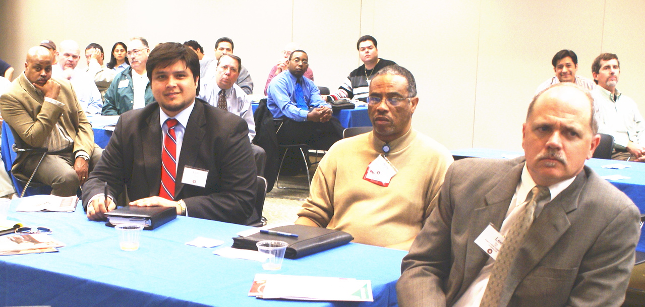 Eric Garcia with STL Engineering; HCADFW Guest and Lee Dear, Rogers-O'Brien Construction Company,Ltd. (DCCCD CM)
