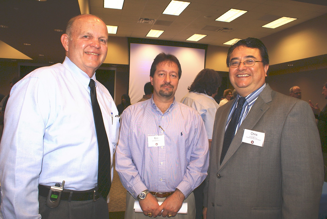 HCADFW Guest; Eric Stanford, Centennail Contractors;and HCADFW Chairman Chris Escobedo, Phillips/May Corp.