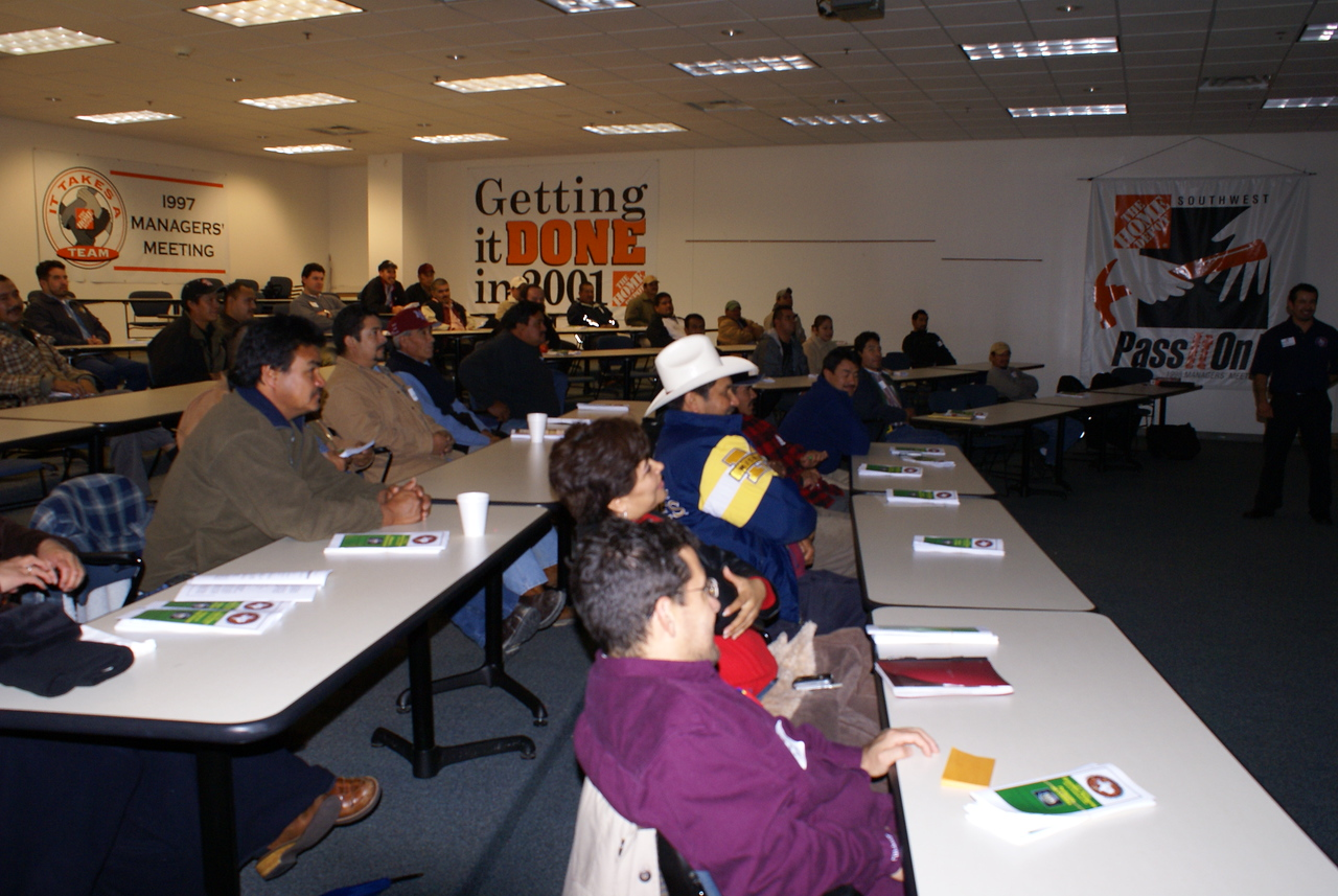 Construction workers attend the Saturday Training session on January 20th