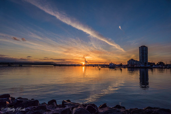 Sunrise over Nanaimo's harbour