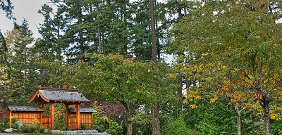 The Japanese Garden in this park provides an excellent subject for an autumn photo, as the leaves begin to turn to vivid and vibrant colors.  This image was processed to allow the Japanese architectural element to become the prominent subject in the frame.