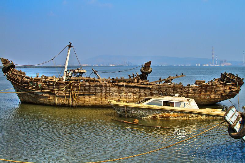 Boats in Sewri Bay Mumbai