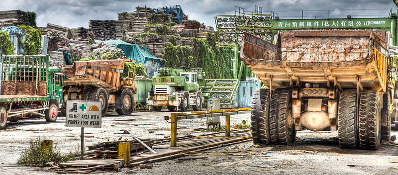 Trucks on a  Singapore Industrial Estate
