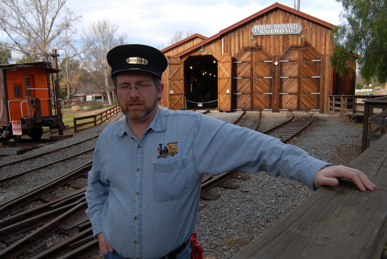 James, the Poway Midland  railroad volunteer spent some time explaining the workings of the railway and the switching mechanism that gets the trains back in train barn.