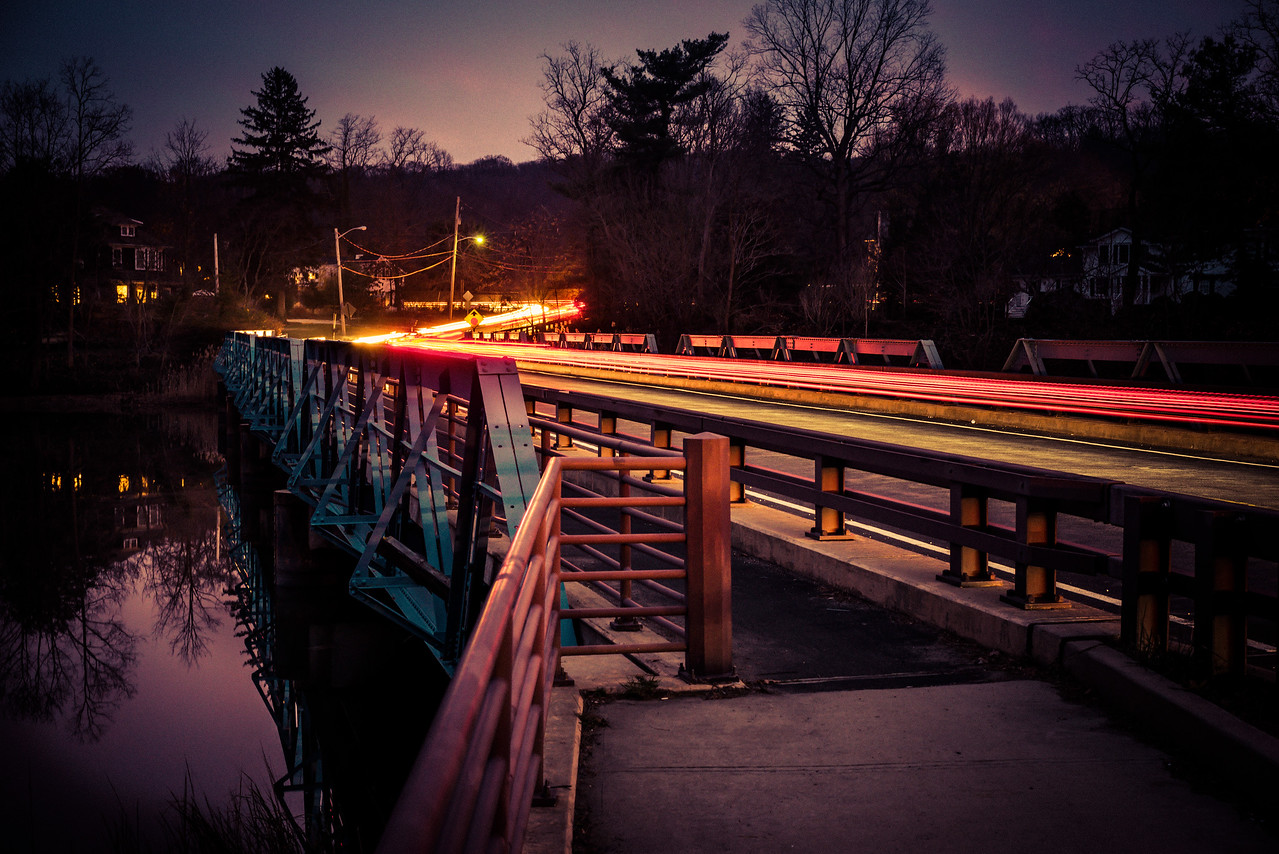 Locust Ave Bridge at Night