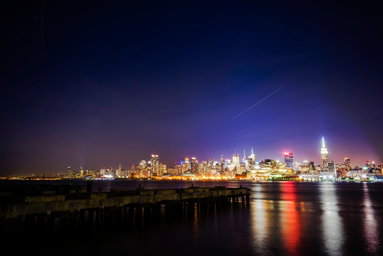 Manhattan skyline at night.