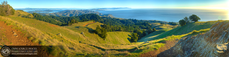 Mt. Tamalpias - Marin Headlands Super-HD Panorama. (18,698x4675 pixels/300dpi). Digitally stitched into three panoramic blending planes from 32 individual exposures. 3 exposures each at 11 positions. 1/60 sec at f/11, ISO 50.