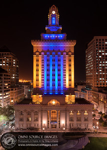 Oakland City Hall Exterior - Warriors Blue and Gold LED Lights - Friday, April 18, 2014 at 9:00 PM. Created from one vertical row of 4 overlapping horizontal exposures, 20 seconds each at f/11, ISO 50, 50mm. Digitally stitched for a total of 5535x7749 pixels/300dpi.