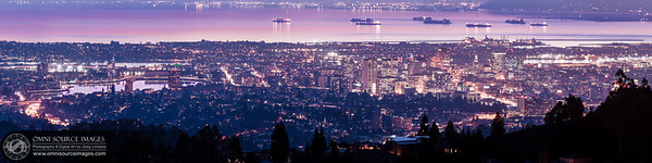City of Oakland Twilight - Super-HD Panorama (19,614 x 4904 pixels/300dpi). Created from eight vertical exposures digitally stitched and blended into one image.