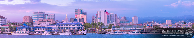 Jack London Square Oakland - Super-HD Panorama at Sunset. Original RAW source file = 24,030x5590 pixels/300dpi. Created from 11 overlapping vertical exposures and digitally stitched into one seamless panorama.