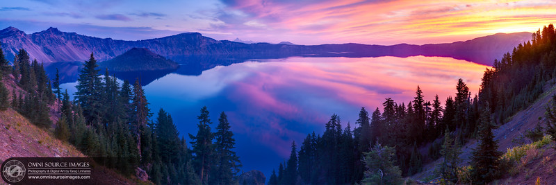 Crater Lake Sunrise - Super HD Panorama (15,966x5322 pixels/300dpi). Created from 21 individual exposures (3 each at 7 positions). Digitally stitched to form three bracketed blending planes then stacked and fused into a sinslge HDR panorama. Tuesday, August 19, 2014 at 6:10 AM. ISO 50, f/11