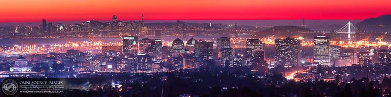 Red Oakland Twilight - Super-HD Panorama. (20,180 x 5277 pixels/300dpi).