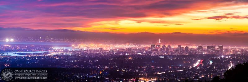 Oakland-SF Dynamic Sunset - Super-HD Panorama (16,482x5494pixels/300dpi)