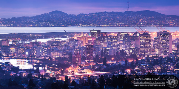 Downtown Oakland Twilight - Cropped Section from Super HD Panorama (22,216 x 5554 pixels/300dpi). Created from eight vertical exposures digitally stitched and blended into one.