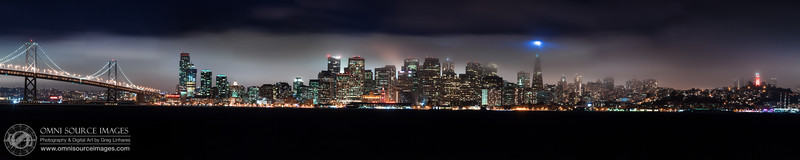 San Francisco Nightime Cityscape - Super-HD Panorama 1:5 (26,460 x 5292 pixels/300dpi). Created from 13 vertical images digitally stitched and blended into one seamless image. Sunday, September 15, 2013 at 8:31 PM. 30 second exposures at f/11, ISO 100, 200mm.