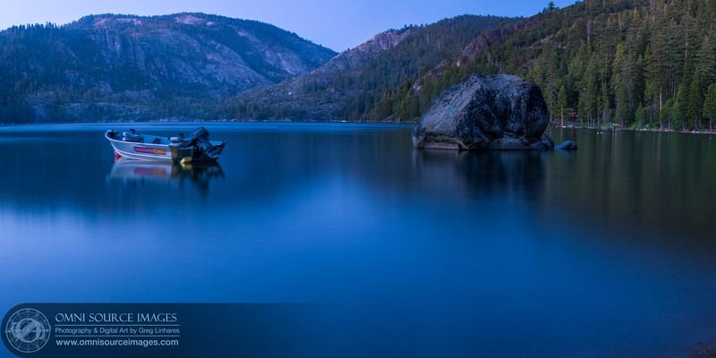 Pinecrest Lake Twlight - Super-HD Panorama (10,704x5352 pixels/300dpi). Created from 5 vertical images digitally stitched and blended. 30 second exposures at f/11, ISO 50, 75mm.