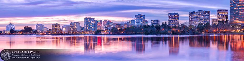 Oakland-Lake Merritt Twilight - SuperHDR Panorama. (21,412  x 5353 pixels/300dpi).