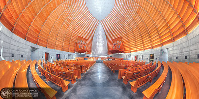 Oakland Catherdral Interior - Super-HD Panorama (11,000 x 5500 pixels/300dpi). This Super-HD (spherical panorama) was projected onto circular mapping coordinates and was derived from an original, multi-row sequence consisting of 216 individual images in three rows of 72 each. Each position was photographed with three different exposures for high-dynamic range tone mapping and photo stitching. Three rows of 24 positions, each with three exposures at 35mm, ISO 50. The final image resolution of this digitally stitched photograph is 11,000 x 5500 pixels!