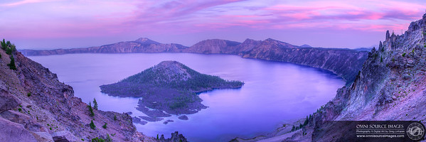 Crater Lake Sunset - Super HDR Panorama (12,821 x 4274 pixels/300dpi). Created from 21 individual exposures (3 each at 7 positions). Digitally stitched to form three bracketed blending planes then stacked and fused into a sinslge HDR panorama. Saturday, August 16, 2014 at 8:13 PM. ISO 50, f/11