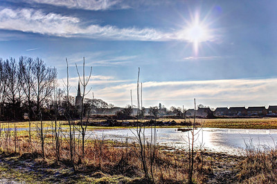 Sun, Steeple and Flooded Field