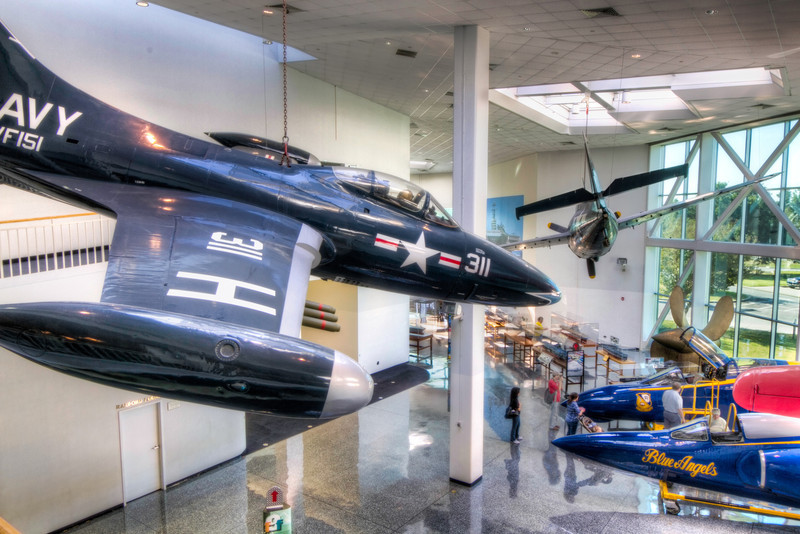 F9F-2 Panther<br /> Wearing the colors of its old squadron, VF-151, and the Bureau Number 123050, this F9F-2 Panther is one of five showpiece aircraft suspended in the Quarterdeck at the National Museum of Naval Aviation in Pensacola, Florida.