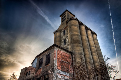 Old Silo  Photo of the old silo of the Ludwig mill in Bratislava. Created from three shots, shot with a Canon 450D with a Sigma 10-20mm lens
