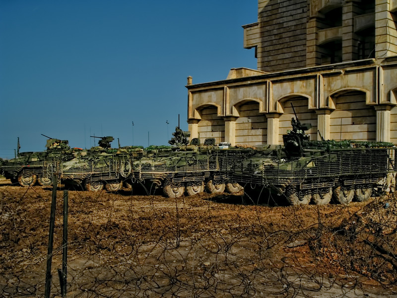 Strykers parked outside the bombed palace on Forward Operating Base Freedom in Mosul, Iraq in 2005.