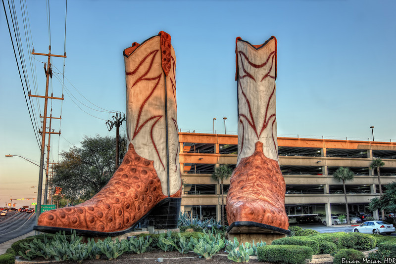 "A photo of the 40-foot tall (and 20-foot long!) boots located outside of the North Star Mall in San Antonio, Texas.  The boots are claimed to be the largest in the world.<br /> <br /> If you would like to read more about this photo, please visit my blog post:<br /> <br /> <br />  <a href=""http://brianmoranhdr.blogspot.com/2011/03/everythings-bigger.html"">http://brianmoranhdr.blogspot.com/2011/03/everythings-bigger.html</a>"