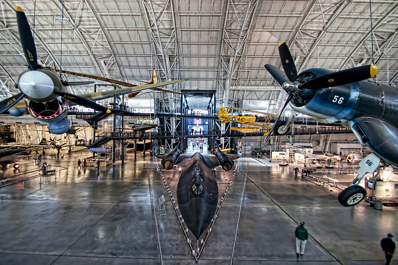The view visitors experience when they first enter the Steven F. Udvar-Hazy Center, National Air and Space Museum, near Dulles International Airport, Washington DC. I could never get tired of this view. (retaken with a wide angle lens, I think it is much better!)