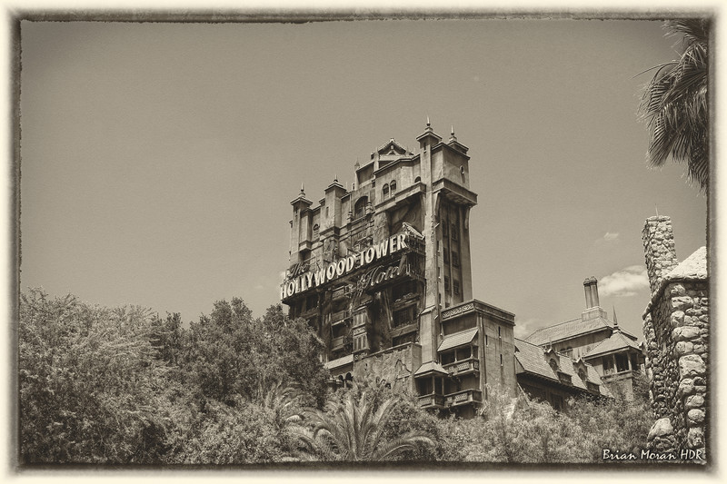 """Old-Fashioned Friday shot of the Hollywood Tower Hotel (aka The Tower of Terror) at Disney Hollywood Studios at Walt Disney World Resort near Orlando, Florida.<br /> <br /> If you would like to read more about this photo, please visit my blog post:<br /> <br /> <br />  <a href=""""http://brianmoranhdr.blogspot.com/2011/05/old-fashioned-friday-tower-of-terror.html"""">http://brianmoranhdr.blogspot.com/2011/05/old-fashioned-friday-tower-of-terror.html</a>"""