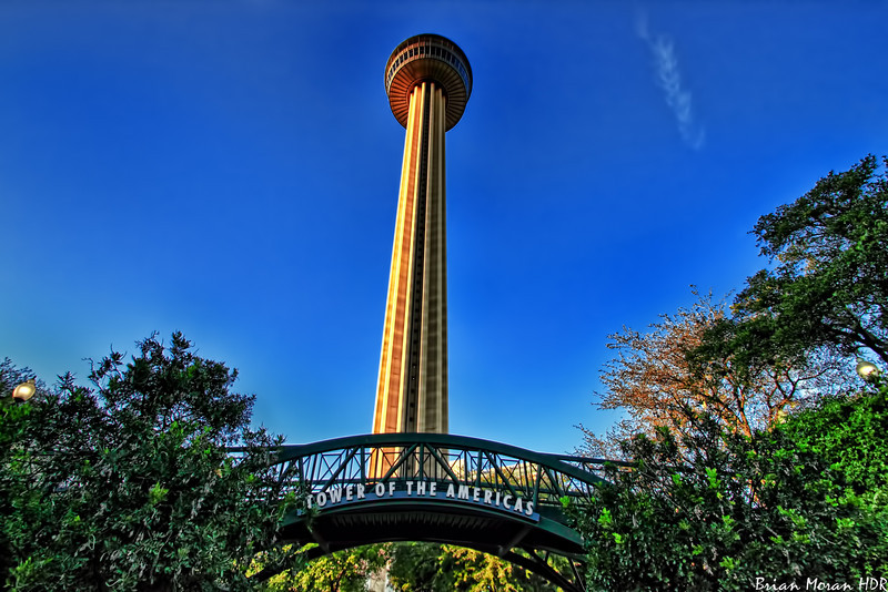 A just before sunset shot of the Tower of Americas, located in San Antonio, Texas