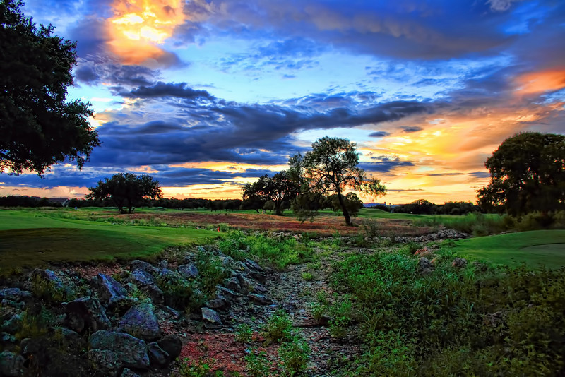 The creek bed on the 6th hole of the Lakes Golf Course at the Hyatt Hill Country Resort in San Antonio, Texas