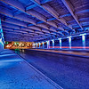 "Blue ""Light Channels"" on Commerce Street near downtown San Antonio.  Part I of V."