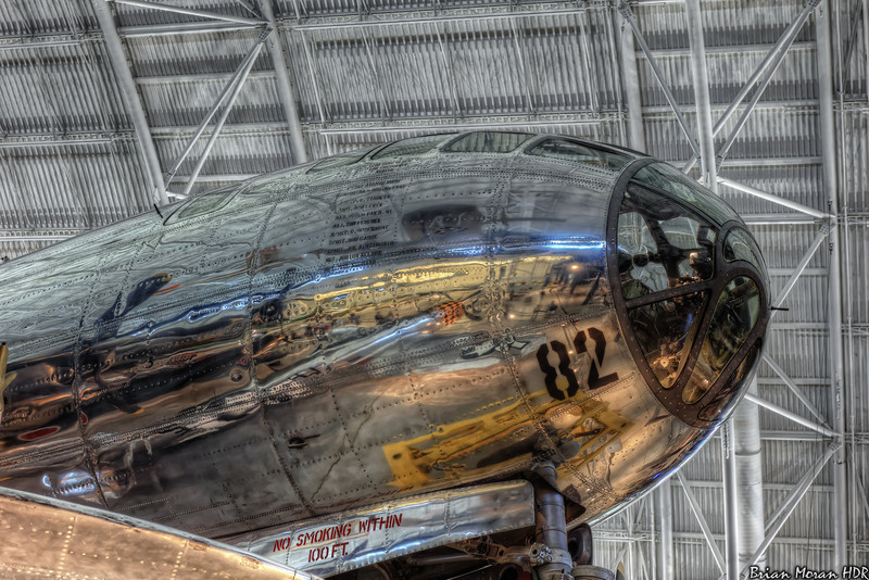 "Exterior shot of the front of the B-29 bomber ""Enola Gay"" at the Smithsonian Air and Space Museum's Udvar-Hazy Center near Dulles International Airport, in Chantilly, Virginia.<br /> <br /> If you would like to read more about this photo, please visit my blog post:<br /> <br /> <br />  <a href=""http://brianmoranhdr.blogspot.com/2011/06/blackbird-and-bomber.html"">http://brianmoranhdr.blogspot.com/2011/06/blackbird-and-bomber.html</a>"