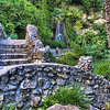 Bridge and waterfall, located at the Japanese Tea Gardens, Brackenridge Park, San Antonio, Texas