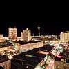 "A view of downtown San Antonio from the ""Sky Pool"" on top of the Hyatt Regency hotel, located on the Riverwalk in San Antonio, Texas"