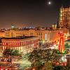 Overlooking downtown San Antonio, at night.