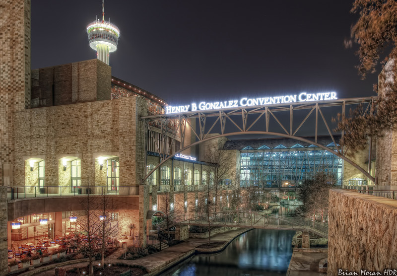 """A night shot of the Henry B. Gonzalez Convention Center and the Riverwalk located in San Antonio, Texas.<br /> <br /> To read more about this photo, please visit my blog post:<br /> <br /> <br />  <a href=""""http://brianmoranhdr.blogspot.com/2011/03/henry-b-gonzalez-convention-center.html"""">http://brianmoranhdr.blogspot.com/2011/03/henry-b-gonzalez-convention-center.html</a>"""