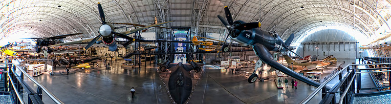 A panoramic view of the Steven F. Udvar-Hazy Center, Smithsonian Air and Space Museum, near Dulles International Airport