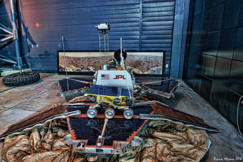 A full size model of the Mars Pathfinder Lander and Sojourner Rover at the Steven F. Udvar-Hazy Center, Smithsonian Air and Space Museum near Dulles International Airport