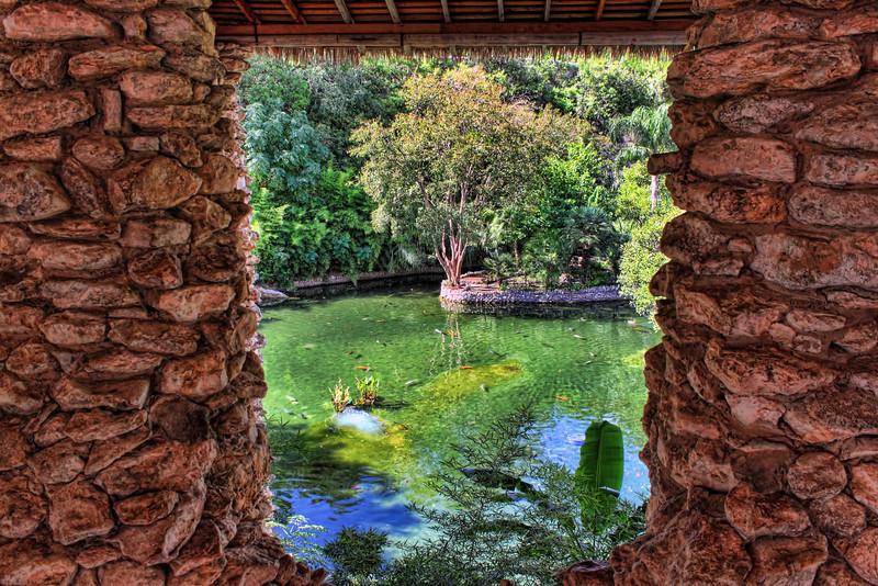 Looking through an opening in the pagoda, located at the Japanese Tea Gardens, Brackenridge Park, San Antonio, Texas