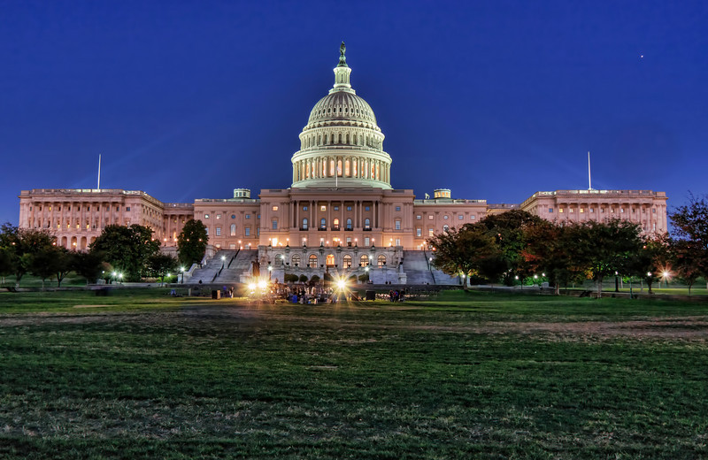 Just after dusk shot of Congress in Washington DC