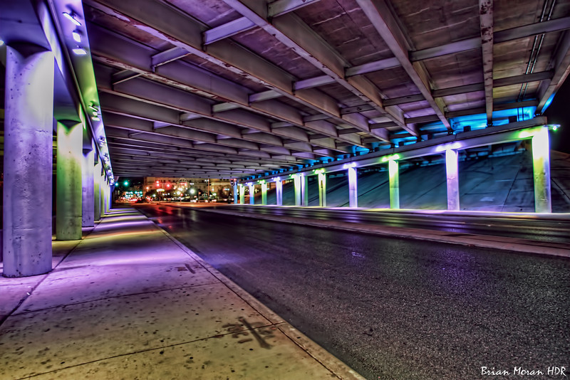"""Purple and Green """"Light Channels"""" on Commerce Street near downtown San Antonio. Part III of V."""